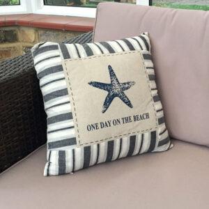 One day on the beach starfish cushion