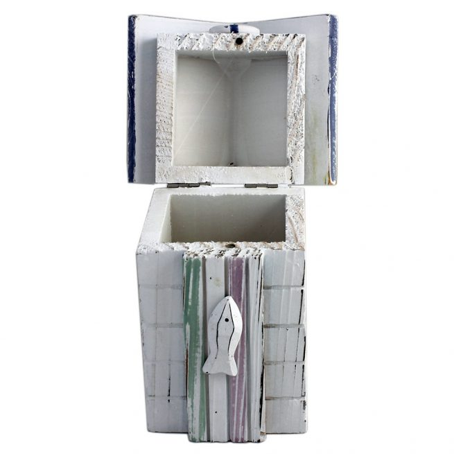 Small Beach Hut Wooden Storage Box Open
