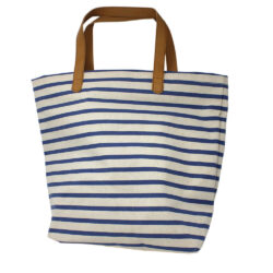 Nautical Canvas Bag Leather Effect Handle