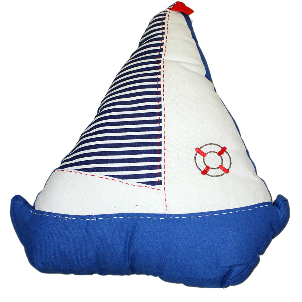 Dark Blue Sail Boat Cushion