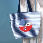 Navy and white nautical striped bag with boat
