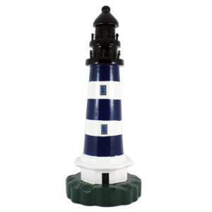 blue white striped lighthouse