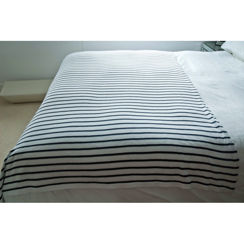 Striped Furniture Throw White Navy