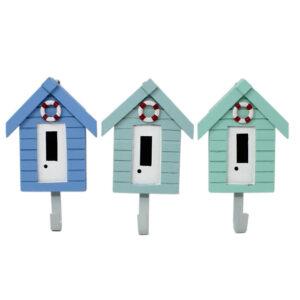 3 pastel beach hut hooks
