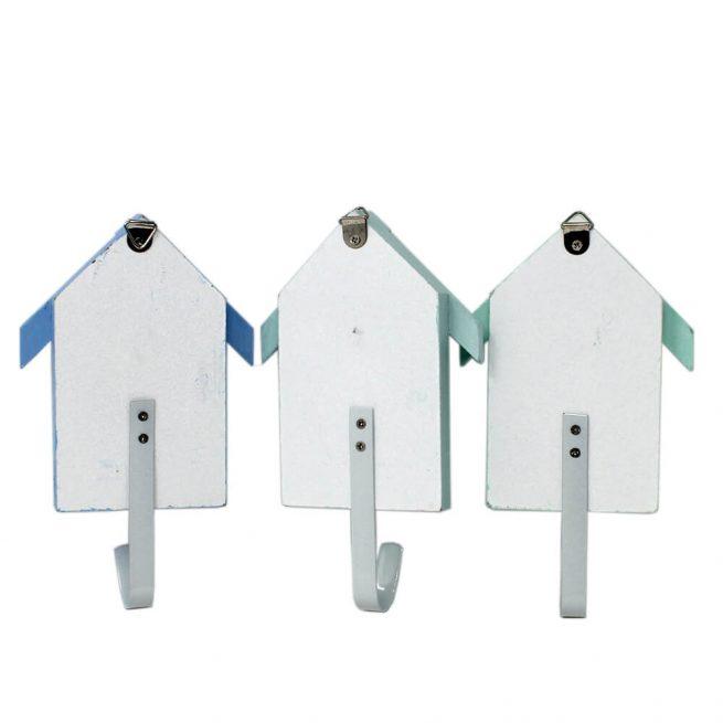3 pastel beach hut hooks back