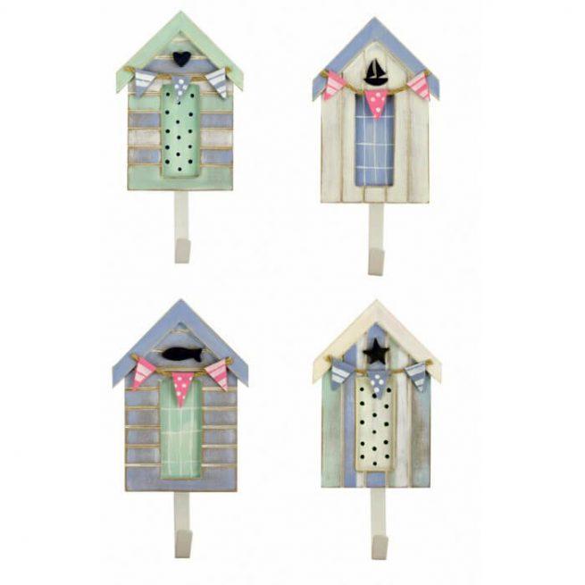Set of 4 pastel beach hut coat hooks