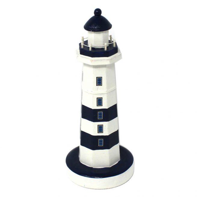 15122c Blue White Wooden Lighthouse