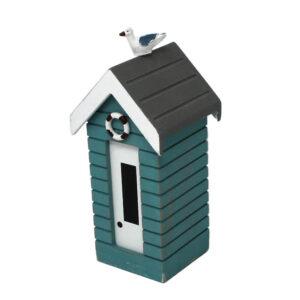 7376r Small Turquoise Money Box Beach Huts