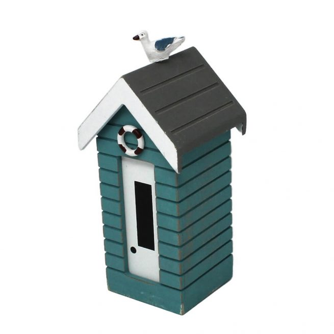7376r Small Turquoise Money Box Beach Huts
