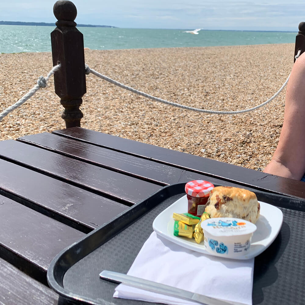 Cream tea in Stokes Bay